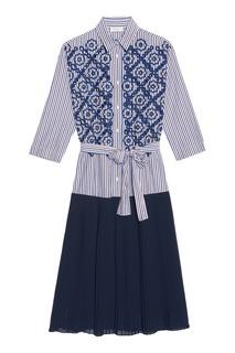 Платье-рубашка с контрастным подолом Sandro