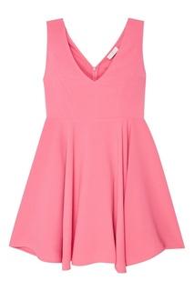 Розовое платье с глубоким вырезом Sandro