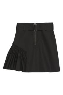 Короткая черная юбка со сборками Sandro