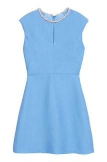 Голубое платье с отделкой бусинами Sandro