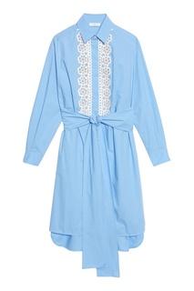 Голубое платье-рубашка с отделкой Sandro