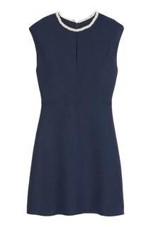 Синее платье с контрастной отделкой Sandro
