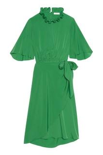 Зеленое платье с запахом Sandro