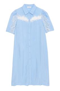 Платье-рубашка с кружевом Sandro
