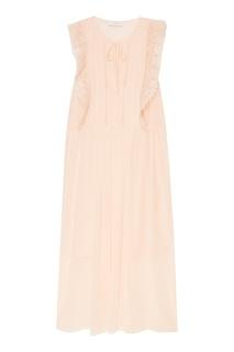 Розовое платье с кружевной отделкой Sandro