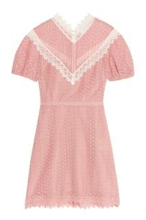 Розовое кружевное платье с отделкой Sandro
