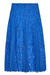Синяя юбка с плиссированными вставками Sandro