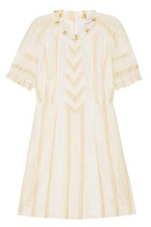 Платье с цветочной вышивкой и кружевными вставками Sandro