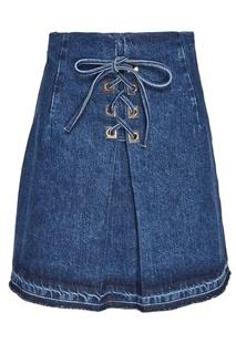 Джинсовая юбка с декоративной шнуровкой Sandro