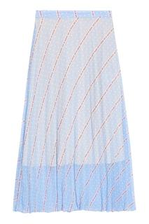Длинная голубая юбка с принтом Sandro