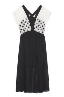 Платье с кружевным верхом Sandro