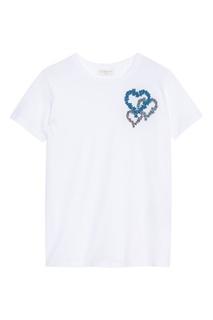 Белая футболка с цветочной вышивкой Sandro