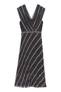 Черное платье с контрастным принтом Sandro