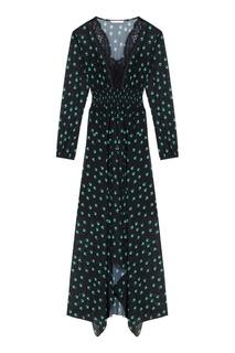 Длинное платье с принтом и кружевом Maje