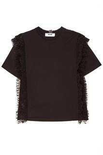 Черная футболка с плиссированным кружевом Msgm