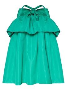 Зеленое платье с воланом Msgm