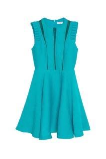 Бирюзовое платье с кружевными вставками Sandro