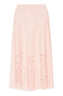 Розовая кружевная юбка с плиссировкой Sandro