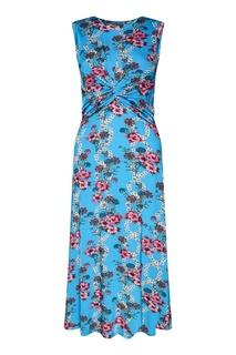 Голубое платье с цветочным принтом Sandro