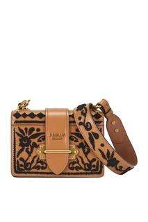Кожаная сумка с вышивкой Ethnical Cahier Prada