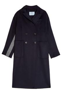 Шерстяное двубортное пальто Prada