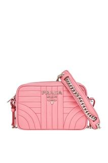 Розовая кожаная сумка Diagramme Prada