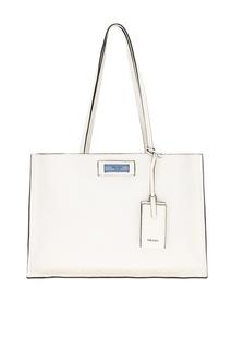 Белая кожаная сумка Etiquette Prada