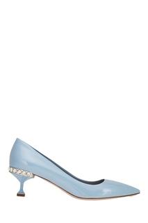 Голубые туфли с кристаллами на каблуке Miu Miu