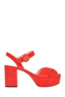 Красные замшевые босоножки Prada