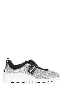 Серебристые кроссовки с глиттером Miu Miu