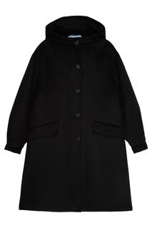 Черное пальто с меховой отделкой Prada