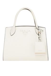 Белая кожаная сумка Monochrome Prada