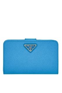 Голубой кошелек из сафьяновой кожи Prada