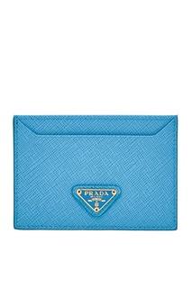 Голубой кожаный футляр для карт Prada