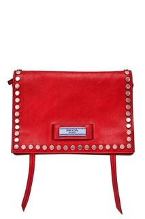 Красная кожаная сумка Etiquette Prada