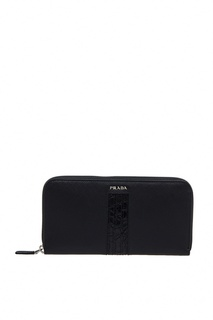 Черный кошелек из кожи Prada