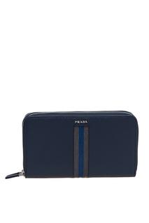 Синий кожаный кошелек Prada