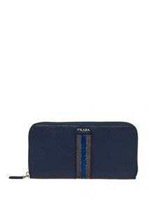 Синий сафьяновый кошелек Prada