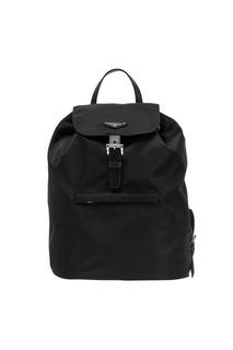Черный текстильный рюкзак с логотипом Prada
