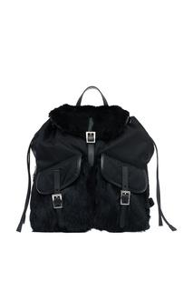 Текстильный рюкзак с мехом кролика Prada