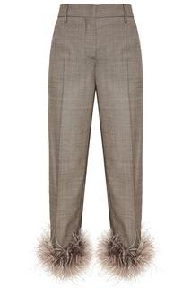 Серые шерстяные брюки с перьями Prada