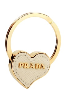 Кольцо для ключей с белым сердцем Prada