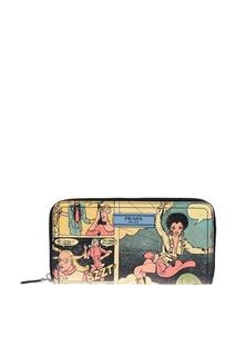 Кожаный кошелек с принтом Prada