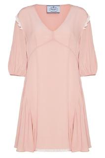 Розовое платье из атласного шелка Prada