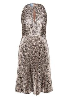 Платье с плиссированным подолом Prada