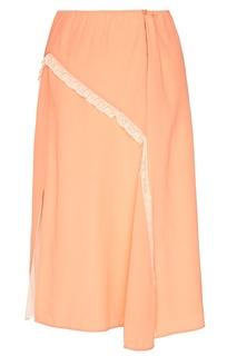 Шелковая юбка с кружевом Prada