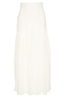 Белая шелковая юбка-макси Prada