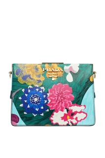 Кожаная сумка с цветочным принтом Light Frame Prada
