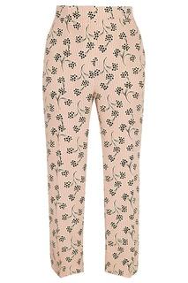 Розовые брюки с контрастным принтом Prada