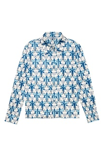 Голубая рубашка с принтом Prada